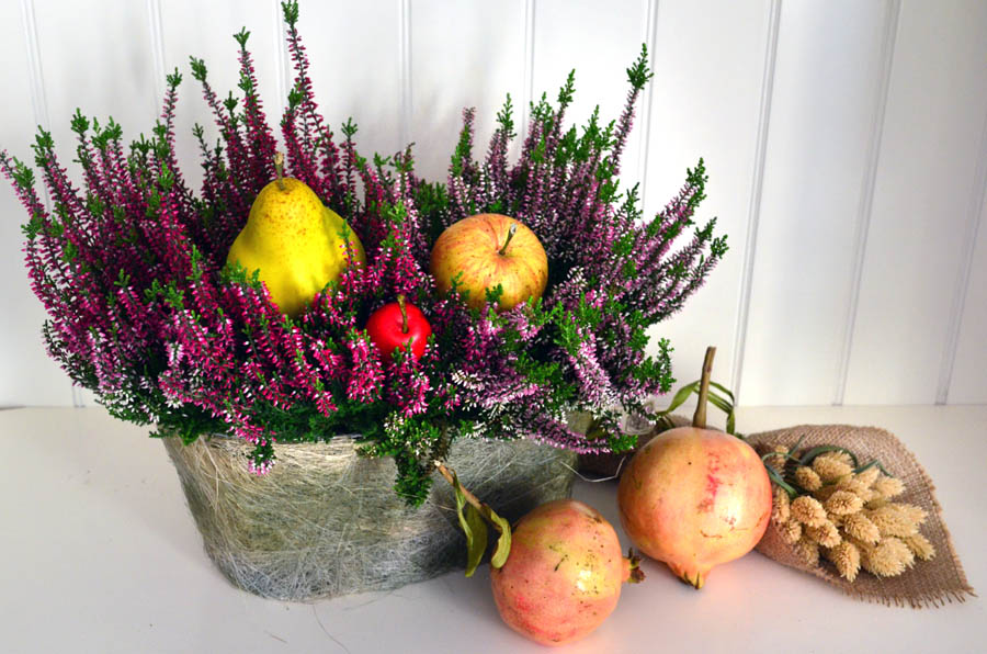 Favoloso Centrotavola floreali: cestini con fiori e frutta dal sapore autunnale HO63